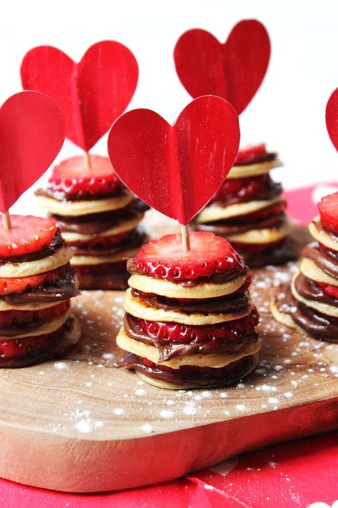 Mini Pancake Stacks with Nutella and Strawberries