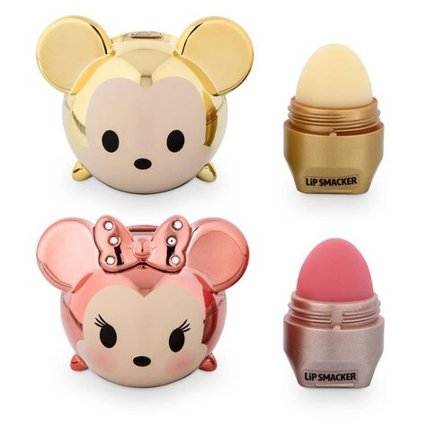 Limited edition gold Mickey and rose gold Minnie Tsum Tsum Lip Smacker set – Mic… Limited edition gold Mickey and rose gold Minnie Tsum Tsum Lip Smacker set – Mickey is whipped-pineapple magic flavor and Minnie is strawberry beignet flavor! Disney Collection, Makeup Collection, Mascara Hacks, Eos Lip Balm, Lip Balms, Disney Makeup, Lipgloss, Lipstick, Lip Care