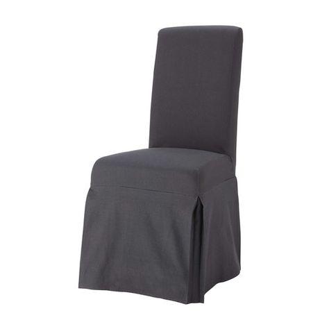 Fodera lunga color antracite in cotone per sedia