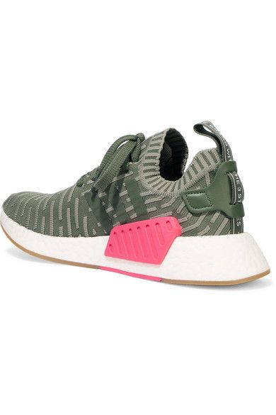 adidas Originals   NMD_R2 leather trimmed Primeknit sneakers