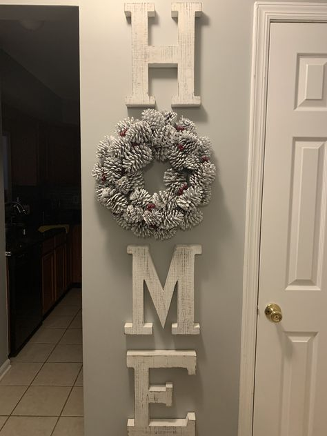 Whitewash Wood Letter Wall Decor - A Hallway Wall Decor, Letter Wall Decor, Hallway Decorating, Decorating With Gray Walls, Cheap Home Decor, Diy Home Decor, Decor Home Living Room, Living Room Wall Ideas, Home Decoracion