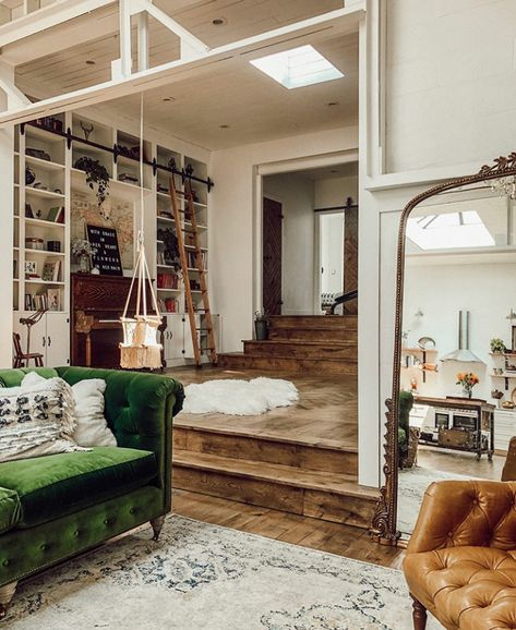 The Nordroom - A vintage industrial barn house with a beautiful green sate . - The Nordroom – A vintage industrial barn house with a beautiful green velvet sofa - House Design, House, Home, Eclectic Home, Home Remodeling, House Interior, Green Velvet Sofa, Home Interior Design, Interior Design