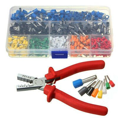 800pcs Cable Wire Terminal Connector 10 23 Awg Set Kit Tool Crimp Plier Crimper Ebay In 2020 Wire Terminals Connectors Cable Wire Network Tools
