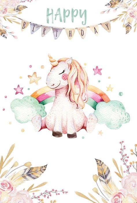 Birthday unicorn / Artistic postcards / Postcards / Postallove - postcards made with love