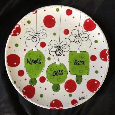 Personalized Christmas Ornament ceramic Plate! & Kate spade Inspired #DIY Holiday Plate. Dollar store plate + sharpie ...