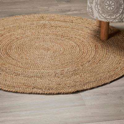 Natural Jute Natural 4 Ft X 4 Ft Round Indoor Area Rug Area