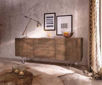 Designer Sideboard Wyatt 175 Cm Akazie Braun Edelstahl Bild 1