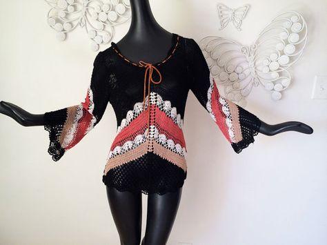 Vintage Sheer Crochet Hippie Top Bell Sleeve Chevron Stripe Hippy Boho Sweater Missoni #crochetsweater