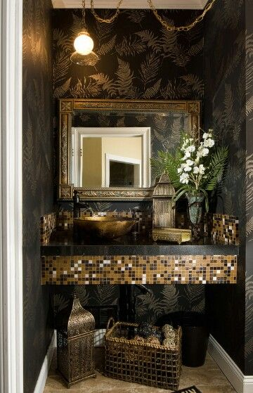 Powder Room Via Houzz Com Gold Interior Bathroom Interior