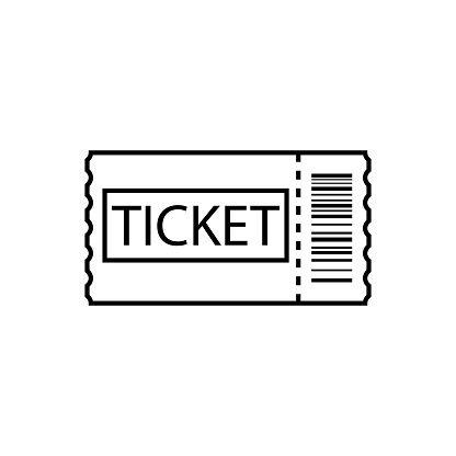 Ticket Line Art Outline Ticket Icon Vector Line Art Icon Travel Icon