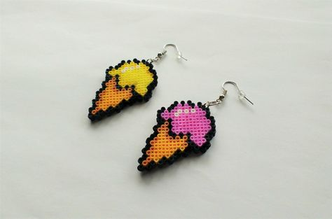 Ice Cream Earrings - Mini Perler Beads, Mini Hama Beads, Hook or Clip-On, Geek Gifts, Pixel Jewelry, Food Jewelry