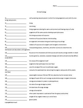 Animal Ecology Vocabulary Quiz Or Worksheet For Zoology With