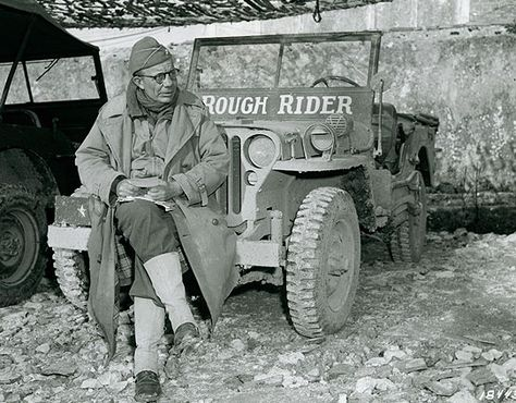 """Brigadier General Theodore Roosevelt, Jr. and his """"Rough Rider"""" jeep in Italy, January 1944. This former commander of the 26th Infantry Regiment, 1st Infantry Division, was one of the most popular generals in the storied history of the Big Red One."""