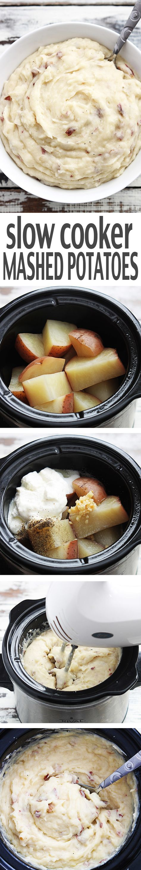 These slow cooker mashed potatoes will change your life. Creamy, tons of flavor, and seriously the easiest mashed potatoes you will ever make - youll never go back to boiling and smashing! #crockpot #crock-pot #recipes #delicious #recipe #slowcooker