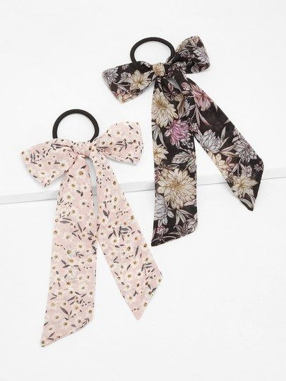 Floral Hair Tie 2pack [hairha181130604] - $10.00 : cuteshopp.com