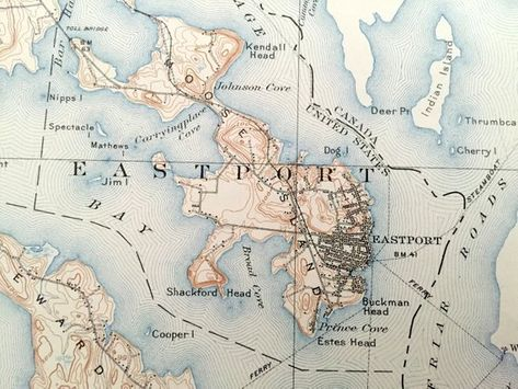 Perry Maine Map.Antique Eastport Maine 1908 Us Geological Survey Topographic Map