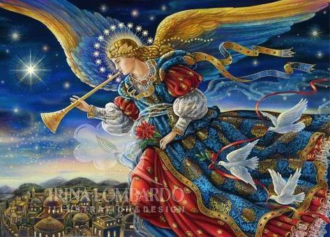 Christmas Spirit - Irina Y. Christmas Scenes, Christmas Angels, Christmas Art, Xmas, Religious Paintings, Religious Art, Angels Beauty, Angel Images, Fairy Figurines
