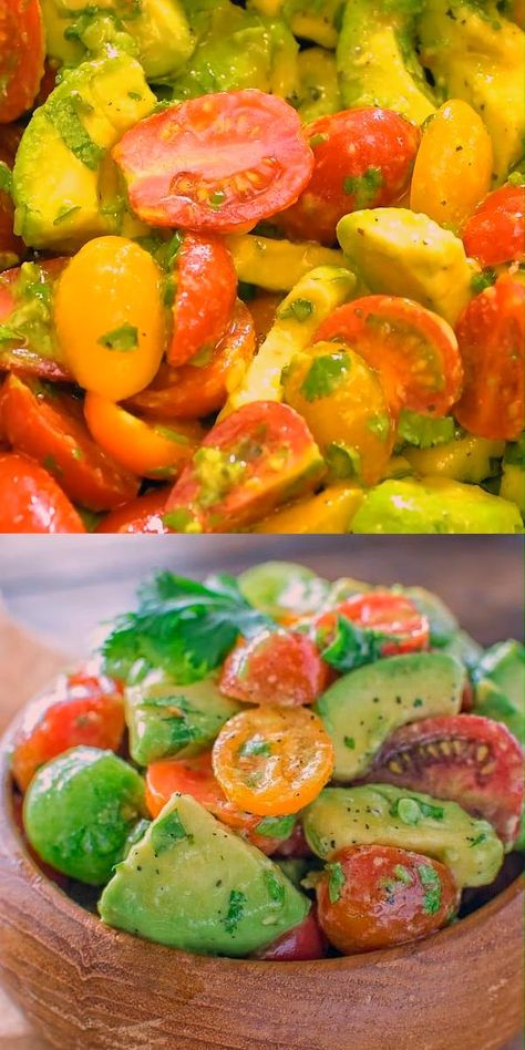 Healthy and so flavorful, this Avocado Tomato Salad makes a great addition to your dinner or lunch. This is one of the most loved recipes in my family! FOLLOW Cooktoria for more deliciousness! #avocado #tomatoes #salad #lunch #easyrecipe #keto #ketosis #lowcarb #healthyrecipe #cooktoria