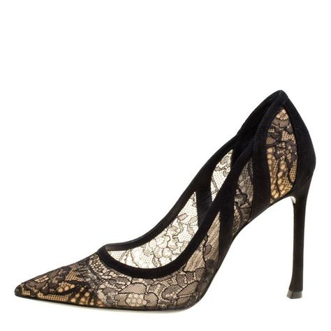 d6bc1018ce2 Rene Caovilla Lace And Mink Crystal Embellished Pointed Toe Pumps Size 39  in 2019