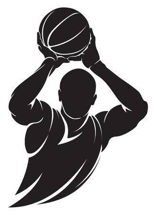 Jugador De Baloncesto Vector Silueta Aislado En Blanco Dibujos De Basquetbol Baloncesto Dibujos Basquetbol Dibujo