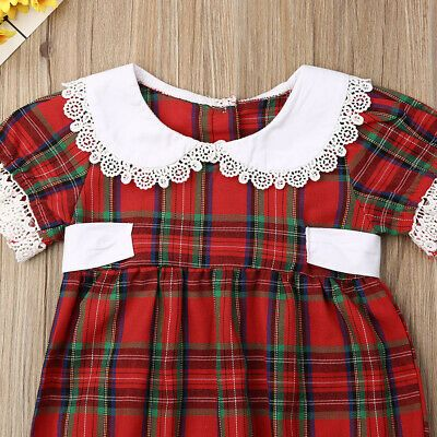 US Toddler Baby Girl Christmas Xmas Romper Dress Bodysuit Plaid Outfits Clothes
