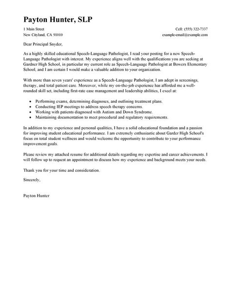 SLP cover letter example Speech Therapy Pinterest Language - sample letter of appointment