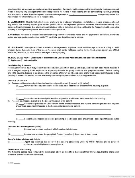 Printable Sample standard rental agreement Form Simple Printable - sample standard lease agreement