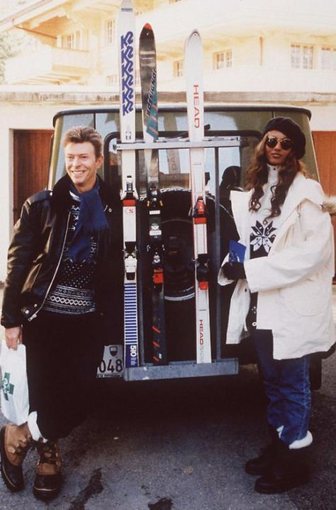 David Bowie and Iman 1993 ski