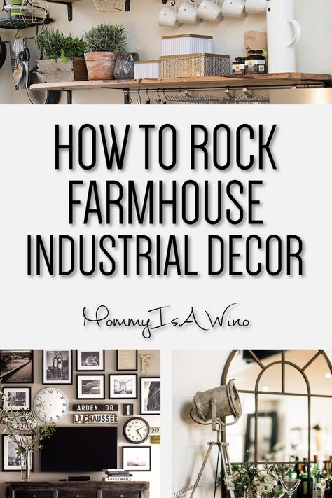 Farmhouse Industrial Decor With A Vintage Cozy Feel - Industrial Decor for Living Room Kitchen Bathroom and Bedroom - How To Rock Farmhouse Industrial Decor #industrialdecor #industrial #farmhouse #industrialfarmhouse #decor #homedecor ...uple of questions.What do you think of when I say rustic chic? Do you think of a farmhouse wooden cabin feel with wood tables and exposed beams? Or d... sharp lines and attractive corners and edges that improve its beautiful appearance and farmhouse styling.Ite