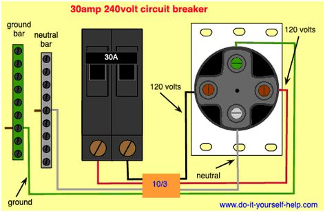 Wiring Diagram For A New Code Compliant 30 Amp 240 Volt Circuit Breaker Metal Electrical Box Diy Electrical Portable Air Conditioner Window