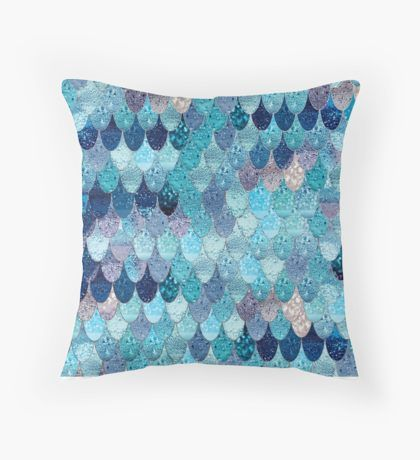 Aqua Blue Teal Watercolor Background' Throw Pillow by