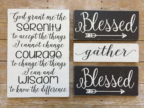 God Grant Me Serenity Prayer Inspirational Wood Sign Wood Plaque Wall Art Inspirational Wall Decor