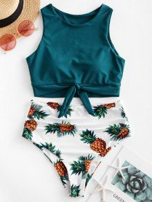 ZAFUL Pineapple Print Knot Ruched Tankini Swimsuit - ZAFUL Pineapple Print Knot Ruched Tankini Swimsuit USD Source by spotpopfashion - Swimsuits For Teens, Swimsuits For Curves, Modest Swimsuits, Vintage Swimsuits, Plus Size Swimsuits, Cute Swimsuits High Waisted, Tall Swimsuits, Tankini Swimsuits For Women, Boho Swim Suits