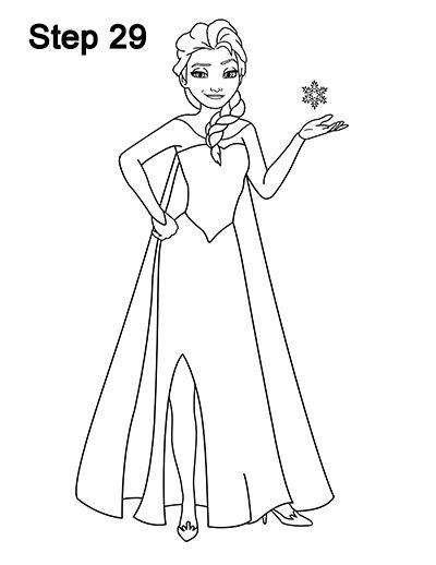 Elsa Frozen Drawing 29 How To Draw Elsa Elsa Drawing Elsa Drawing Easy
