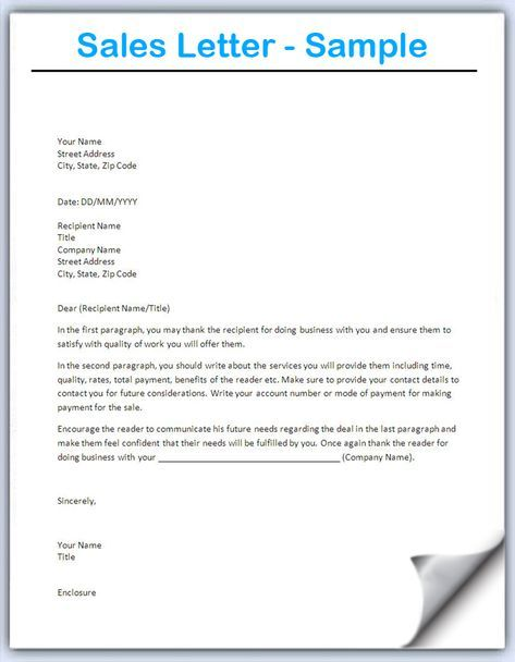 Sales Letter Template Writing Professional Letters Sales Letter