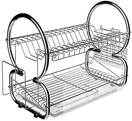 Amazon Com Homdox 2 Tier Dish Rack And Drainboard Set Stainless