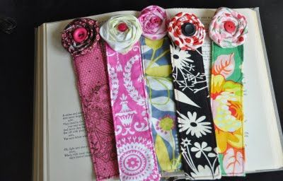 fabric bookmarkers  http://www.skiptomylou.org/2011/04/22/beautiful-handmade-bookmarks-teacher-appreciation/