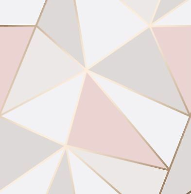 Find Many Great New Used Options And Get The Best Deals For Feature Wall Rose Gold Blush Gold Geometric Wallpaper Pink And Gold Wallpaper Rose Gold Wallpaper
