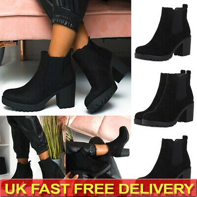 Women Real Leather Chelsea Boots Chunky Block Heels Ankle Boots Platform Shoes