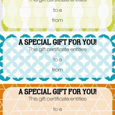 free printable gift certificatesand TONS more printable stuff - printable vouchers
