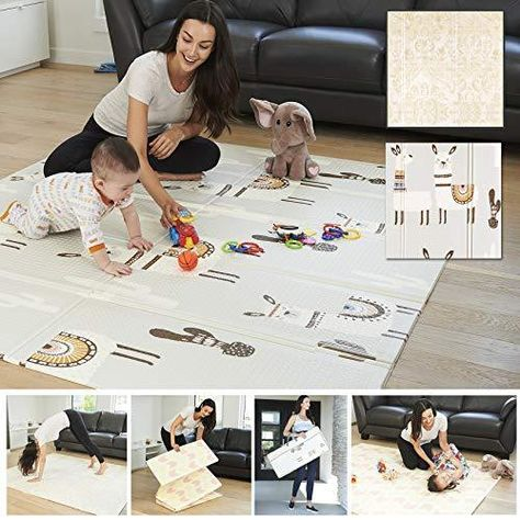 XDEMODA Reversible Baby Play Mat & Exercise Mat - Fun & Stylish Foam Floor Playmat for Adults, Kids and Infants. Elegant Room Decor Transforms into Large Fun Activity Gym Mat for Yoga or Crawling - Llama