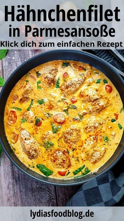 Dieses Hähnchenfilet in cremiger Frischkäse-Parmesan-Soße ist einfach köstlich. Ein Traum von cremiger Soße mit zartem Hähnchen und in Kombination mit Spaghetti einfach klasse. Ob mit Pasta, Couscous, Kartoffeln oder Reis, Hähnchen mit Frischkäse-Parmesan-Soße schmeckt immer. Ein einfaches Gericht für jeden Tag mit wenigen unkomplizierten Zutaten und schnell gemacht. #huhn #geflügel #parmesan #lydiasfoodblog #einfach #schnell #kochen #rezepte