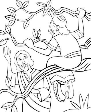 Bible Coloring Page Illustrating Zacchaeus Climbing A Sycamore Fig