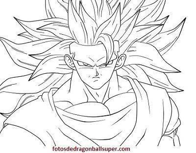 Faciles Dibujos Para Imprimir Y Colorear De Goku En Fase 4