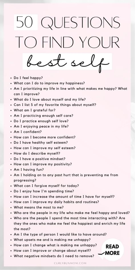 50 questions to find your best self. Try these 50 deep personal growth questions to reflect, improve your life and be happier every day. #50questions #bestself #selfdevelopment #personalgrowth #behappy #success