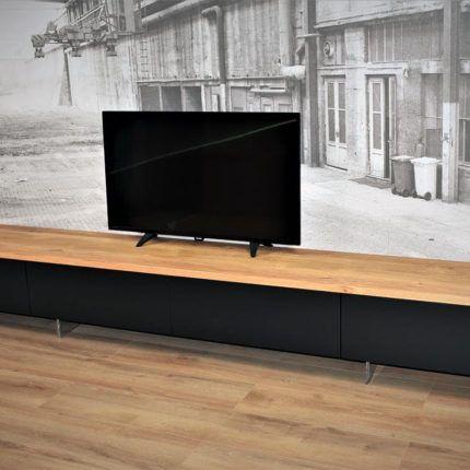 Tv Meubel 300 Cm.Zwart Hangend Mdf Tv Meubel 300 Cm Eiken Bovenblad In 2020