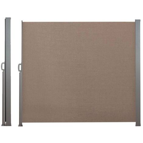 Paravent Retractable 300 X 160 Cm Store Taupe Lateral Enroulable 12668