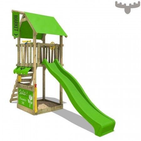 Magicmarket Master Xxl Apfelgrun Doppelschaukel Spielturm Mit Schaukel Schaukel Kletterturm