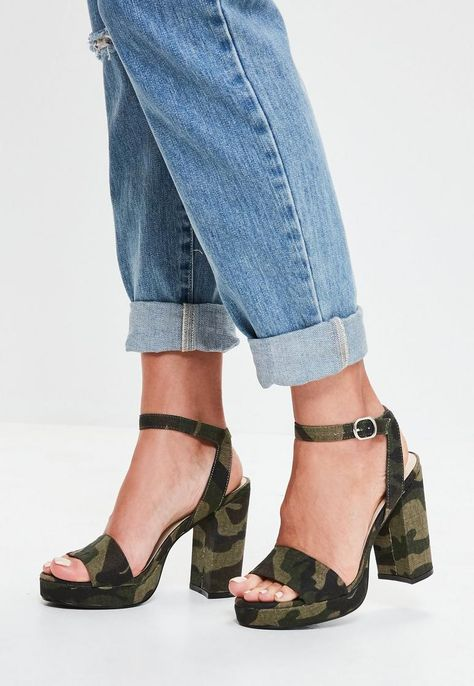 Khaki Camouflage Platform Sandals | Shoes online, Heels, Shoes