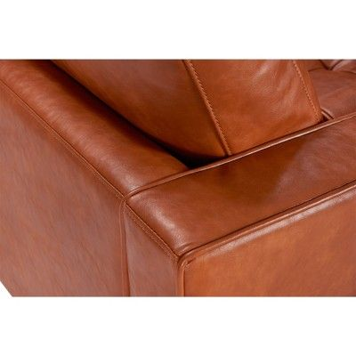 Amazing Zander Mid Century Modern Leather Sofa Caramel Aeon Brown Gmtry Best Dining Table And Chair Ideas Images Gmtryco